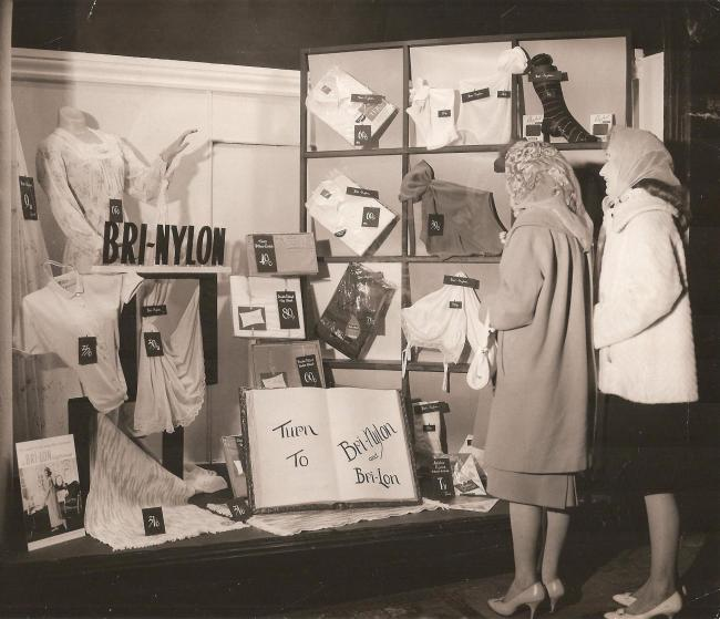 Peggy Rutterwelsh and Joyce Williams of Garndiffaith at Fowlers Department Store in the early 1960s. Picture: Torfaen Museum.