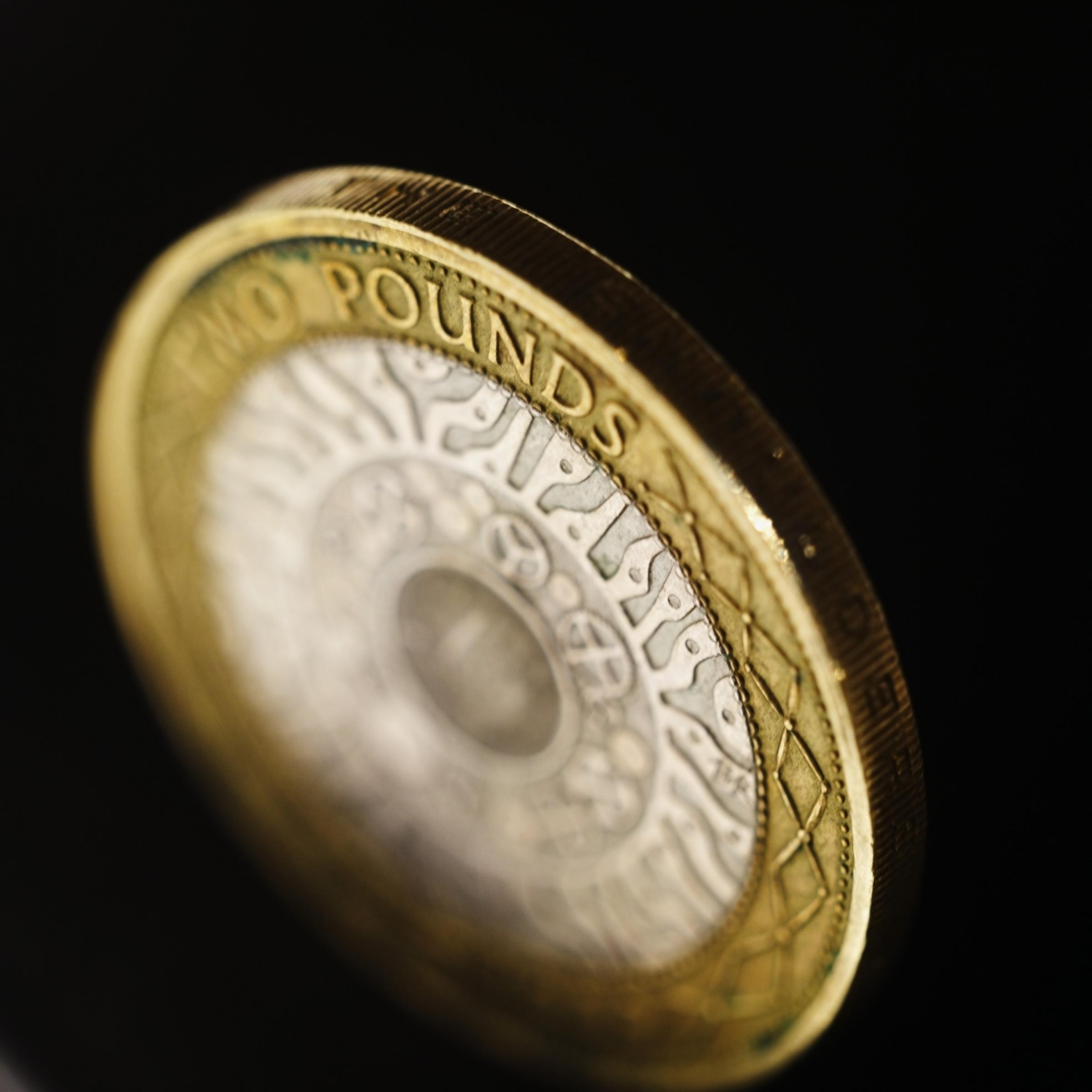 Close-up of a two pound coin