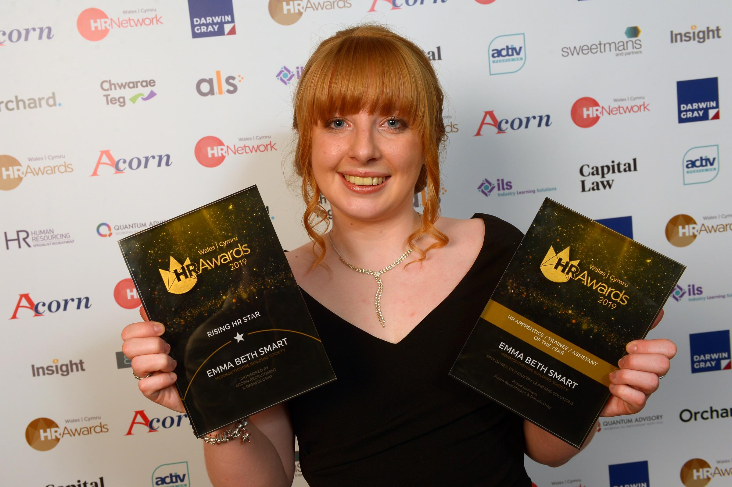 Monmouthshire Building Society's Emma Beth Smart at the 2019 Wales HR Awards