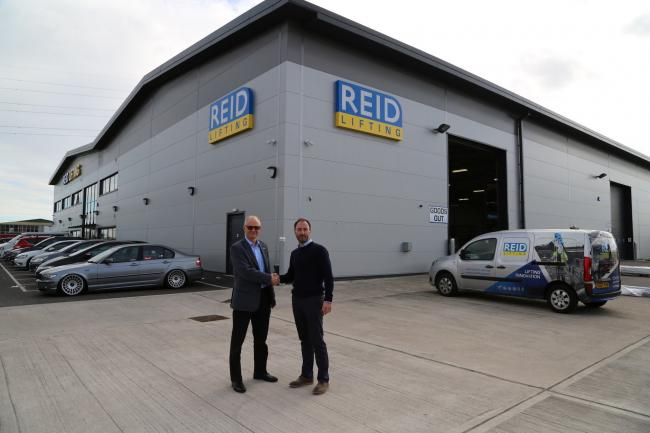 Reid Lifting has been named in the Sunday Times WorldFirst SME Export Track 100. Nick Battersby (left) and Simon Luke, outgoing and incoming managing directors respectively, mark the dawn of a new era of ownership at Reid Lifting earlier this year