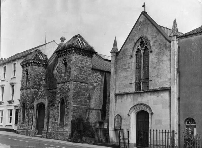 The Beulah Congregational Chapel (left) and the Roman Catholic Church of St Mary's, in Chepstow. Photograph from the collections of Chepstow Museum ©Monmouthshire Museums