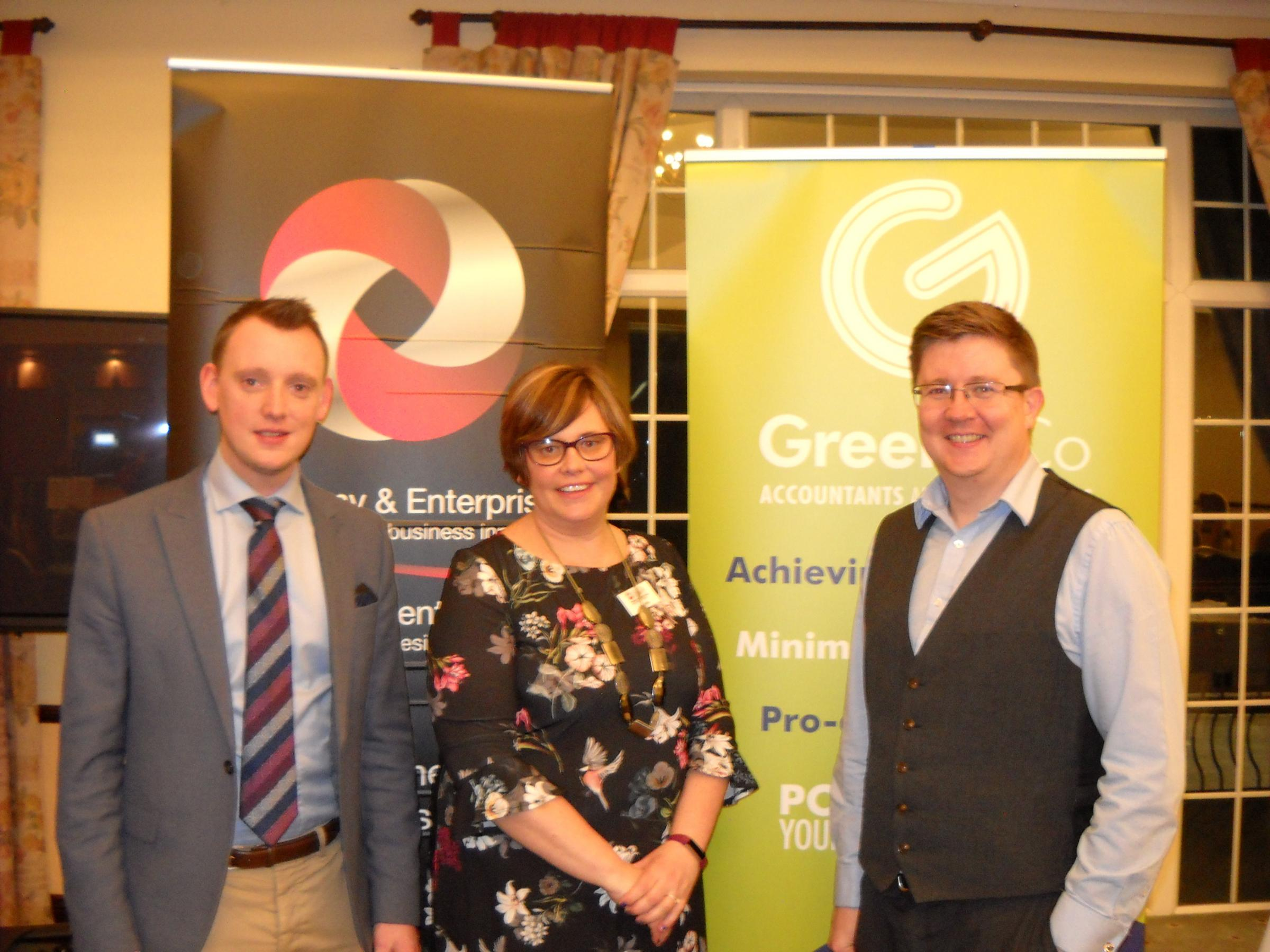 L to R: Andrew Evans, of Green & Co, Joanne John, of Torfaen Economy & Enterprise, Barrie Kenyon, of Green & Co