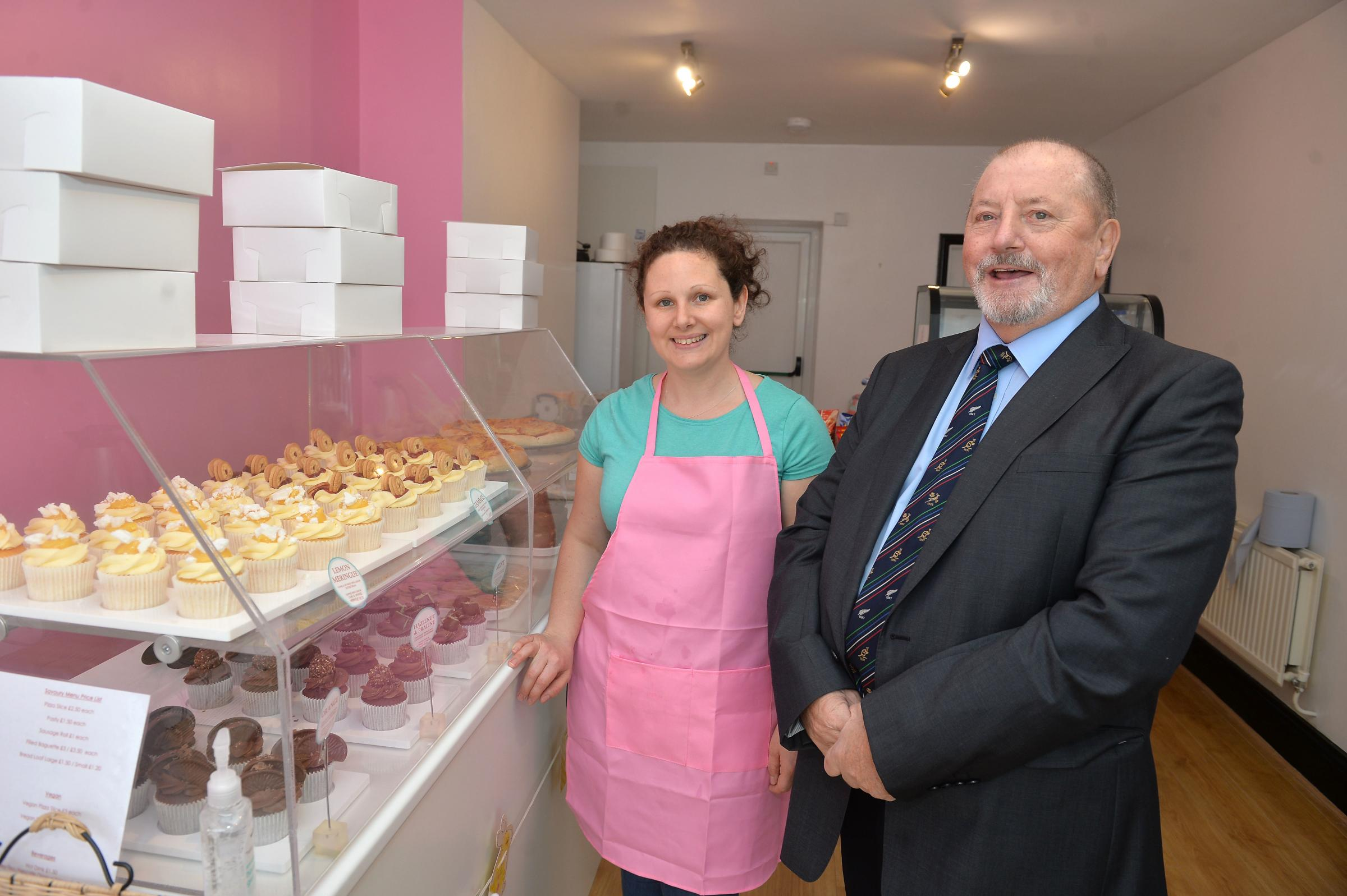 Cllr Alan Jones opens The Flour Girls bakery and cake shop with owner Rhian O'Connell in Blaenavon .  www.christinsleyphotography.co.uk