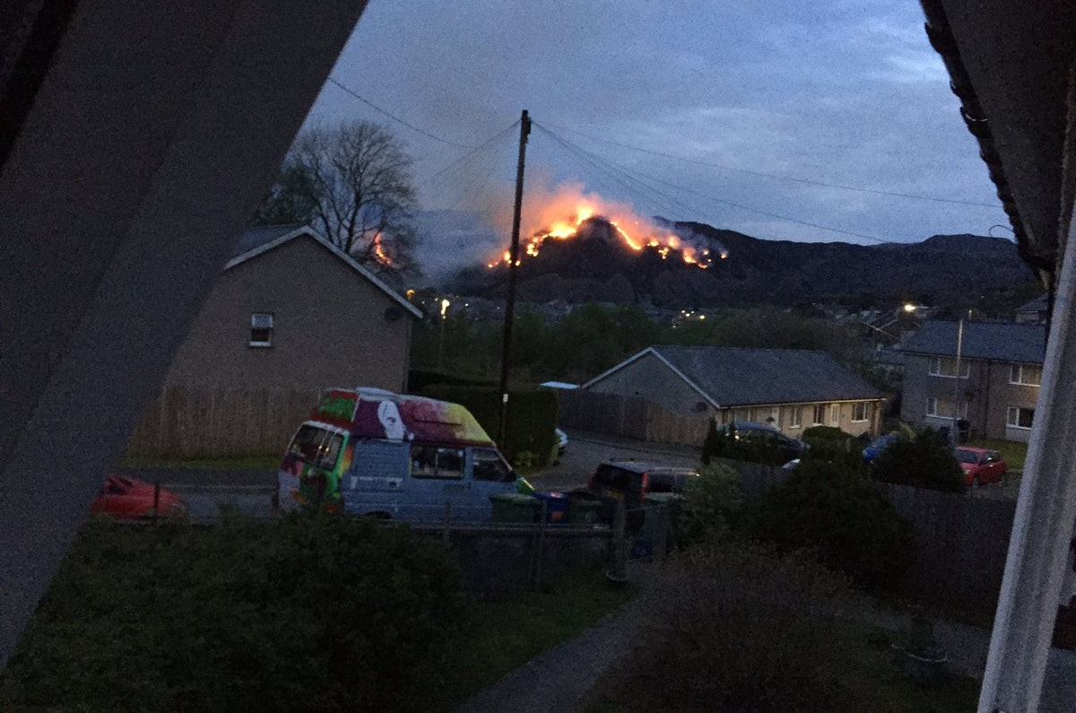 A fire at the Lechwedd slate quarry in Blaenau Ffestiniog, North Wales