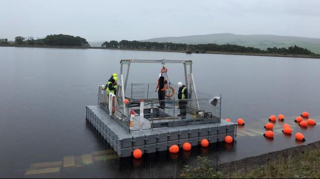 The 3,000kg capacity Porta-Gantry crane  from Chepstow-based Reid was primarily used for anchoring the floating solar system