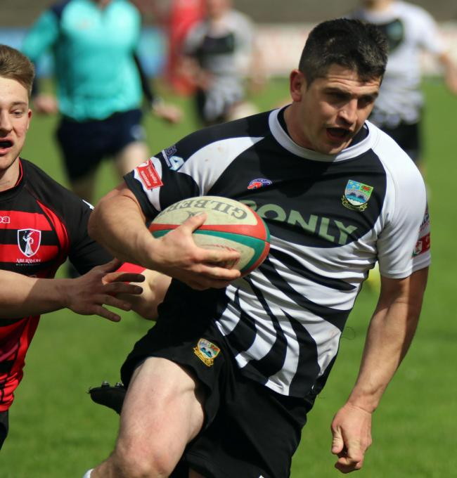 INTENT: Bedwas' Adam Williams on the attack against Aberavon. Picture: Ian Lovell