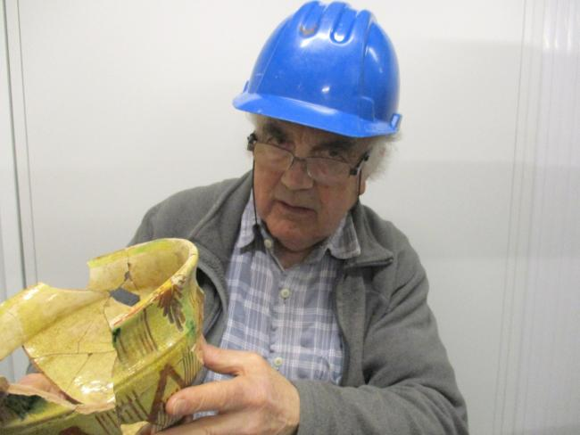 Stephen Clarke, Monmouth-based archaeologist, with a previous discovery.