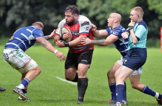 Keys prop Richard Cornock on the charge against Bridgend on opening day