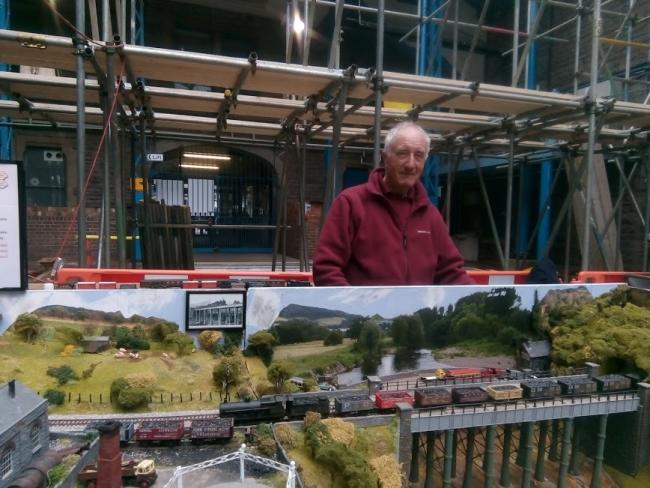 Richard Cox, aged 77, from Abergavenny, and his reconstruction of the town's Merthyr, Tredegar and Abergavenny Railway system.