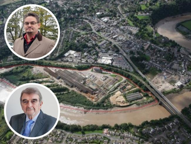 The former Fairfield-Mabey factory site in Chepstow, with Cllrs Jez Becker (top, inset) and David Dovey (bottom, inset).