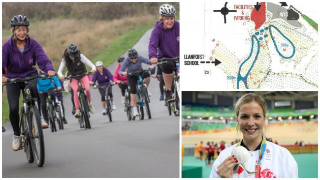A stock image of cyclists (left) with the early designs for the Llanfoist cycling centre (top right) and Abergavenny's Becky James
