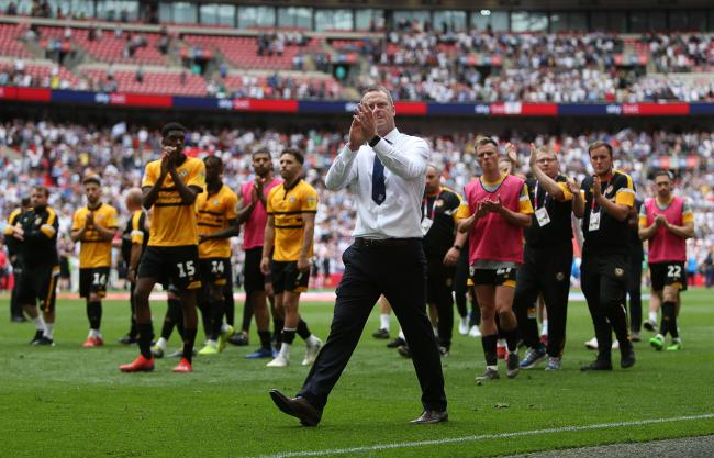 25.05.19 - Newport County v Tranmere Rovers - SkyBet League Two Play-off Final - Newport County Manager Michael Flynn thanks the fans..