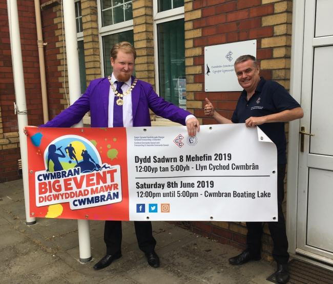 Councillor Anthony Bird with the Clerk to the Council David Collins helping with the publicity arrangements for the Big Event, Picture: Cwmbran Community Council.