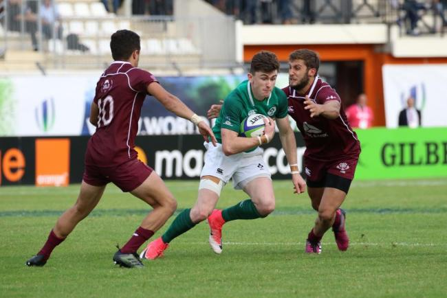 BACK: Wing James McCarthy, pictured in action for Ireland Under-20s, is back at the Dragons (Pic: WORLD RUGBY)