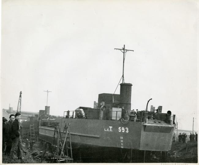 LCT 593 being launched in Chepstow. Photograph from the collections of Chepstow Museum © Monmouthshire Museums Service