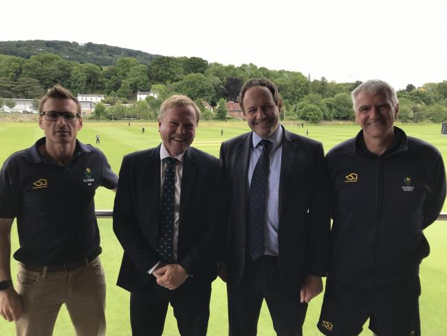 Glamorgan's Director of Cricket, Mark Wallace, and Chief executive, Hugh Morris, with Monmouth School for Boys' Headmaster, Dr Andrew Daniel, and batting coach Steve James, the former Glamorgan and England opener.