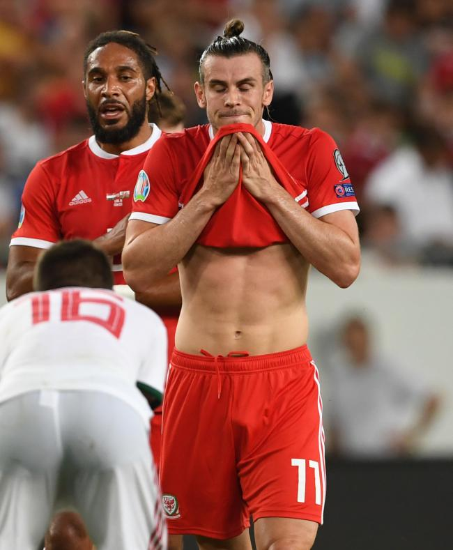 DESPAIR: Gareth Bale squandered Wales' best chance of the game in Budapest