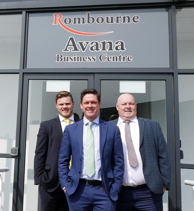 Left to right, Evan Whitson of Cushman & Wakefield; Steve Myers, estates manager at Rombourne; and Michael Bruce of DLP Surveyors outside the Avana Business Centre in Rogerstone, Newport