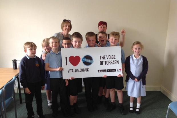 Pupils from Griffithstown Primary School visited Vitalize Radio in Cwmbran to launch the School Radio - Torfaen project. Picture: Griffithstown Primary School.